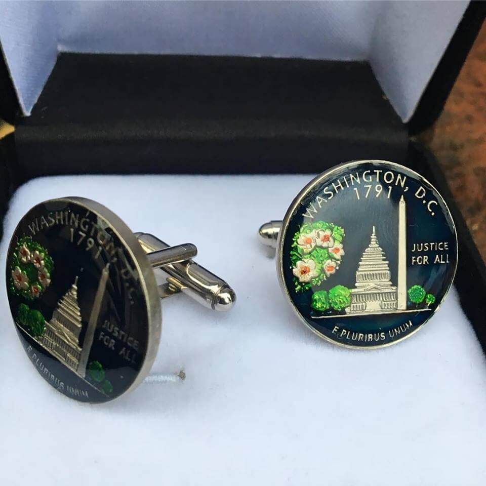 dc coin cufflinks