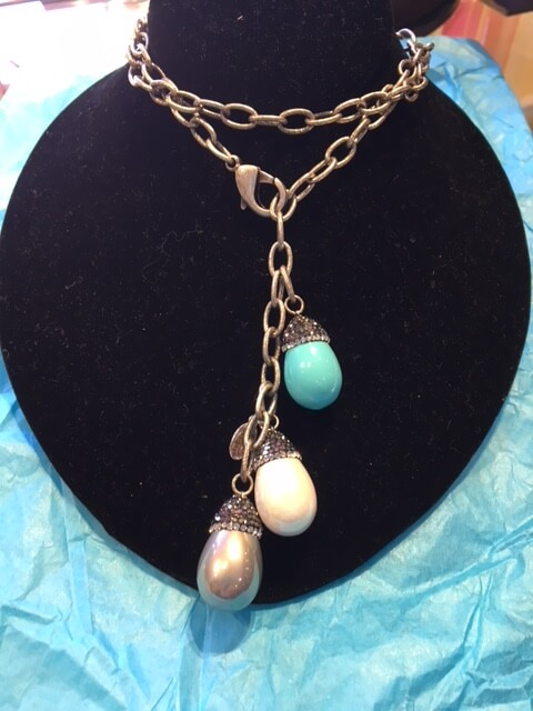 necklace chain turq pearl
